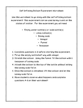 Self-Inflating Balloon Experiment Worksheet