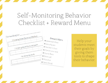 Self-Monitoring Behavior Checklist and Reward Menu