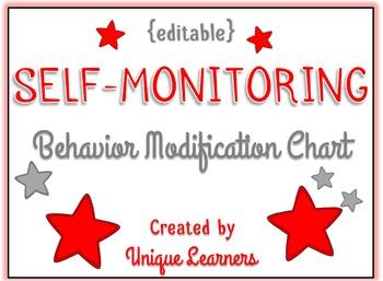 Self Monitoring Behavior Modification Chart {editable}
