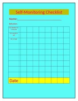 Self-Monitoring Chart