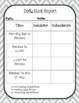 EDITABLE Self Monitoring Check List and Data Collection Bundle
