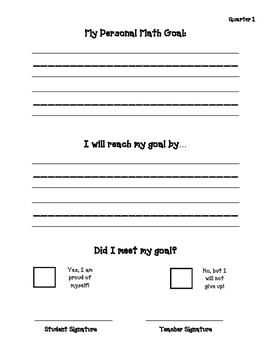 Self Monitoring Goals for Math and Reading