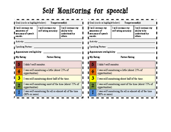 Self Monitoring / Rating Form for Articulation