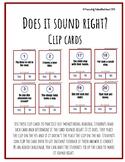 Self Monitoring Reading-Does it Sound Right? Clip Cards