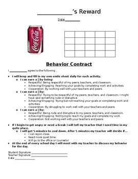 Self Monitoring Sheet & Individual Student Contract