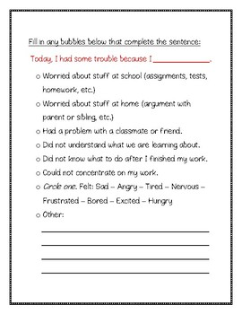 Self-Monitoring Sheet for On-Task Behavior *Middle School Friendly Resource*