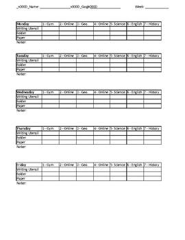 Self Monitoring sheet