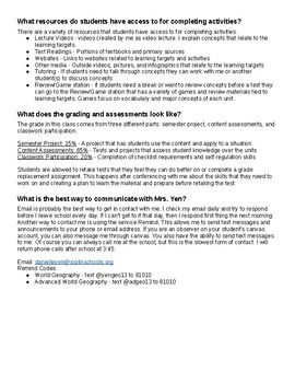 Self-Paced Learning Parent Letter