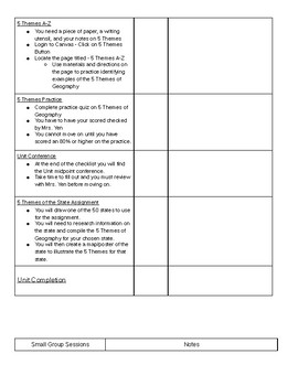 Self-Paced Learning Student Checklist