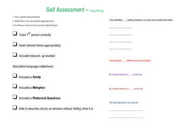 Self/Peer Assessment Activity for Diary Writing