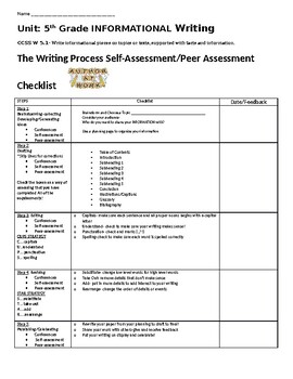 Self/Peer Assessment Checklist for Informational Writing Grades 3 thru 6