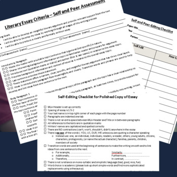 Self Peer Editing Checklist Literary Essay