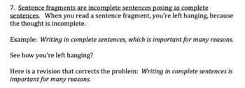 Self/Peer Editing Checklist -- for use with any type of writing assignment