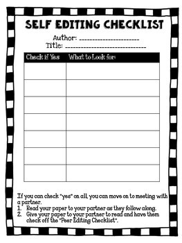 Self & Peer Editing Checklists - 6 Versions!