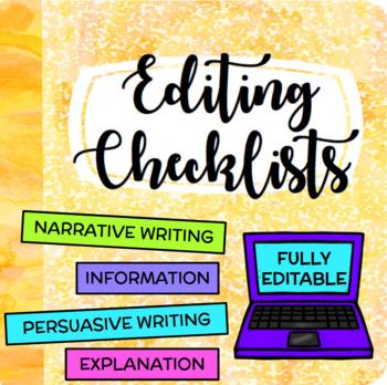 Self & Peer Editing Checklists (Narrative, Persuasive, Explanation, Information)