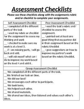 Self/ Peer/ Group Assessment Checklist