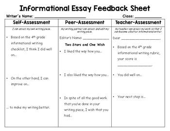 Self, Peer, Teacher Assessment sheet for 4th grade writing units