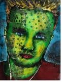 Self Portrait - Acrylic Batik and Collage