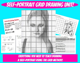 Self Portrait Grid Drawing Unit Face Proportions Lesson Value Visual Art Project