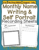 Monthly Self Portrait & Handwriting Assessment Recording Sheets