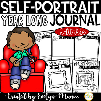 Self Portrait Monthly Journals | Name or Theme Writing | Editable Pages