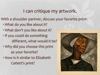 Self Portrait Printmaking with African American artist, Elizabeth Catlett