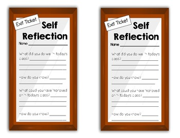 Self Reflection Exit Ticket