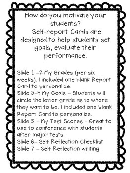 Self Reflection Report Card
