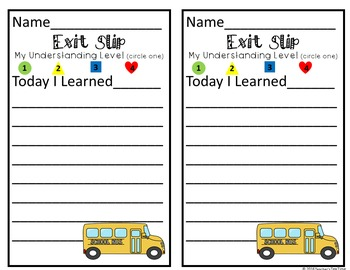 Marzano's Learning Scale- - -Self-Assessment- -  School Bus Posters & Exit Slips