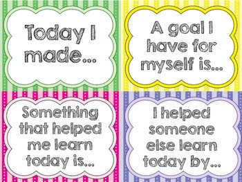 Self Reflection Sentence Starter Cards