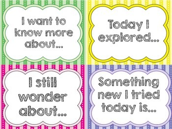 Self Reflection Sentence Starter Cards