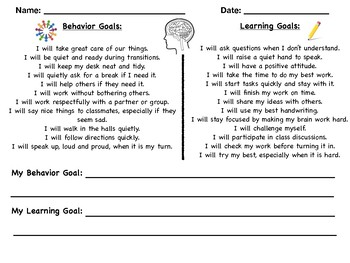 Self Reflective Sheets for Weekly Student Goals