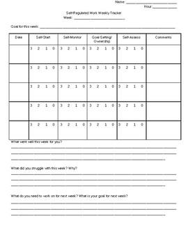 Self-Regulating Behavior Student Tracking Sheet