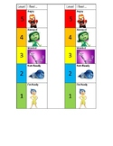 Self Regulation Chart using Inside Out charcaters- No words