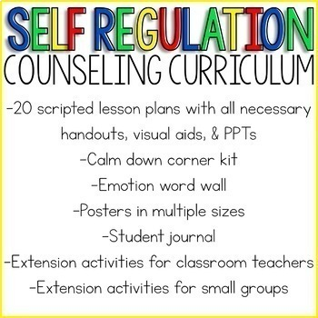 Self Regulation Counseling Curriculum: Emotion Regulation Activities