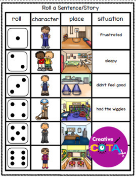 Self Regulation Roll a Sentence, Roll a Situation and Match Emotion to Situation