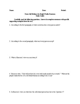 Self-Reliance - Comprehensive Study Guide - CCSS Aligned