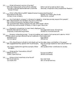 Self-Reliance Ralph Waldo Emerson Transcendentalism Quiz with Key Student Choice