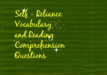Self-Reliance Vocabulary and Reading Comp.