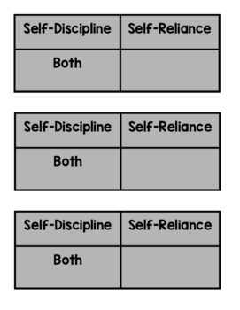 Self Reliance vs. Self Discipline Card Sort and Double Bubble