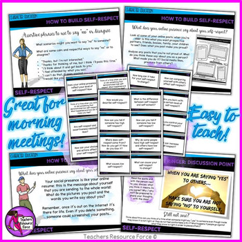 Self-Respect Lesson: Character Education (PowerPoint, Task Cards & Printables)
