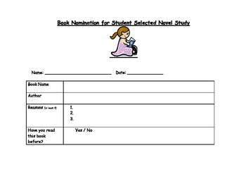 Self Selected Novel Study - Assessment, planning and sample