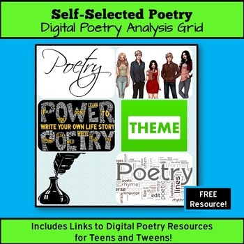 Self-Selected Poetry: Poetry Analysis Grid Template for Google Classroom (FREE)