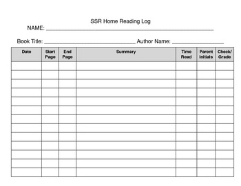 Self-Selected Reading (SSR) Logs