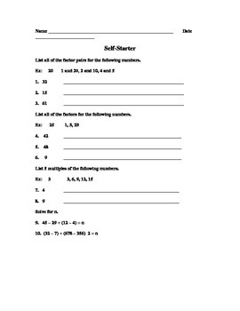 Self Starter worksheet with factors, multiples, and variables