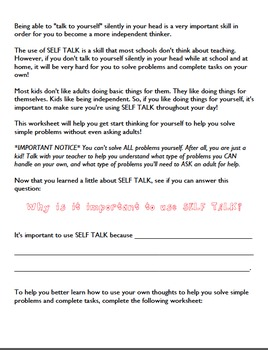 Self Talk: Helping students become problem solvers and independent thinkers