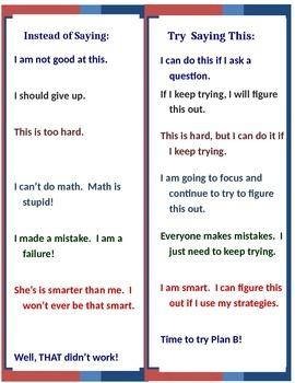 Self-Talk Motivation 8.5 x 11 Poster Classroom Effort Success!! EDITABLE