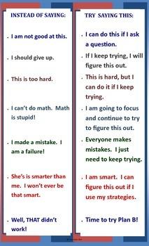 Self-Talk Motivation Legal Size Poster Classroom Effort Success!!