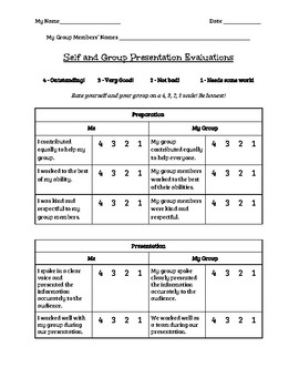 Self and Group Presentation Evaluations