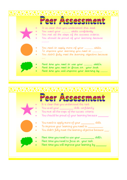 Self and Peer Assessment Statement Cards Traffic Lighting